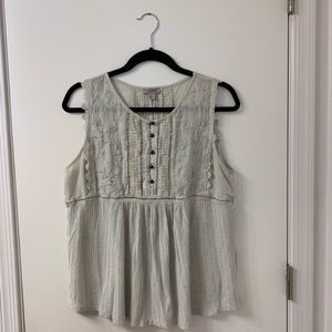 Lucky Brand sleeveless cream embroidered top L